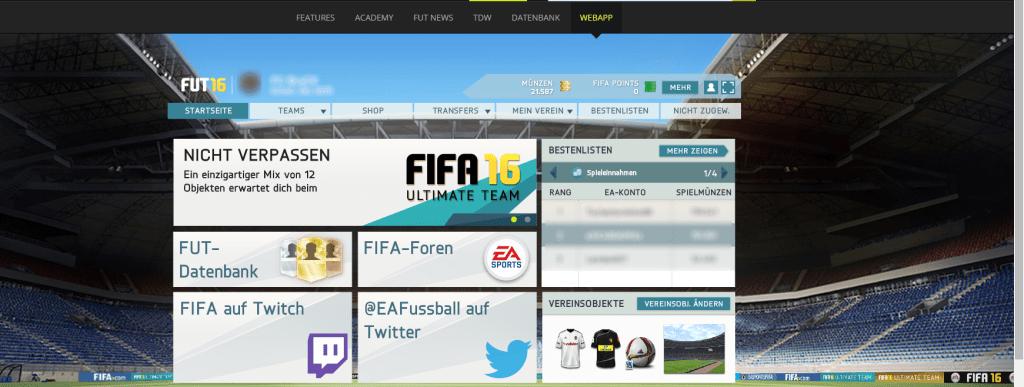 FIFA 16 Web App