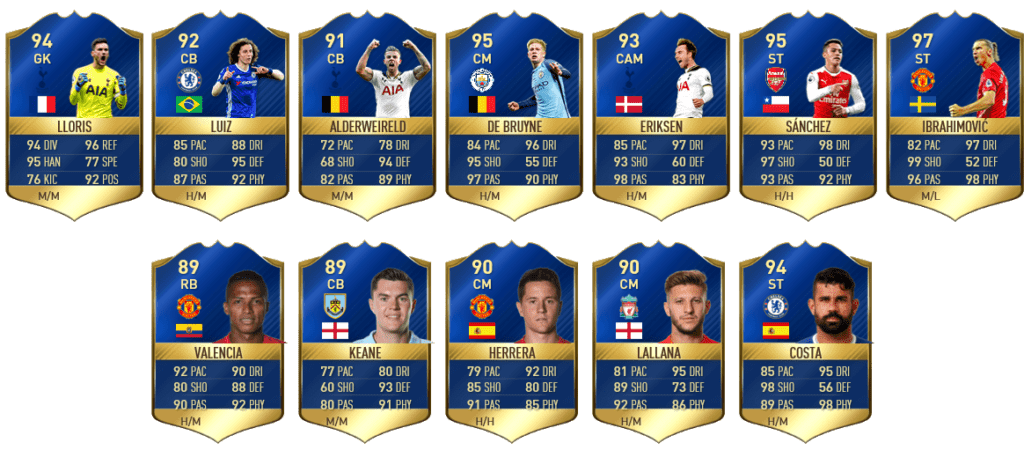 fifa 17 tots premier league